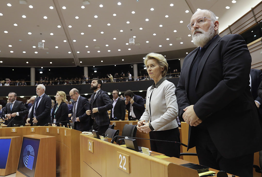 Voorzitter van de Europese Commissie Ursula Von der Leyen en vice-voorzitter Frans Timmermans presenteerden 1 december de Green Deal. - Foto: ANP - Foto: OLIVIER HOSLET