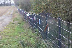 Hek op de grens tussen Duitsland en Denemarken. De Denen willen hun veestapel beschermen tegen het AVP-virus dat in Oost-Europa al zwijnen heeft besmet. - Foto: Vincent ter Beek