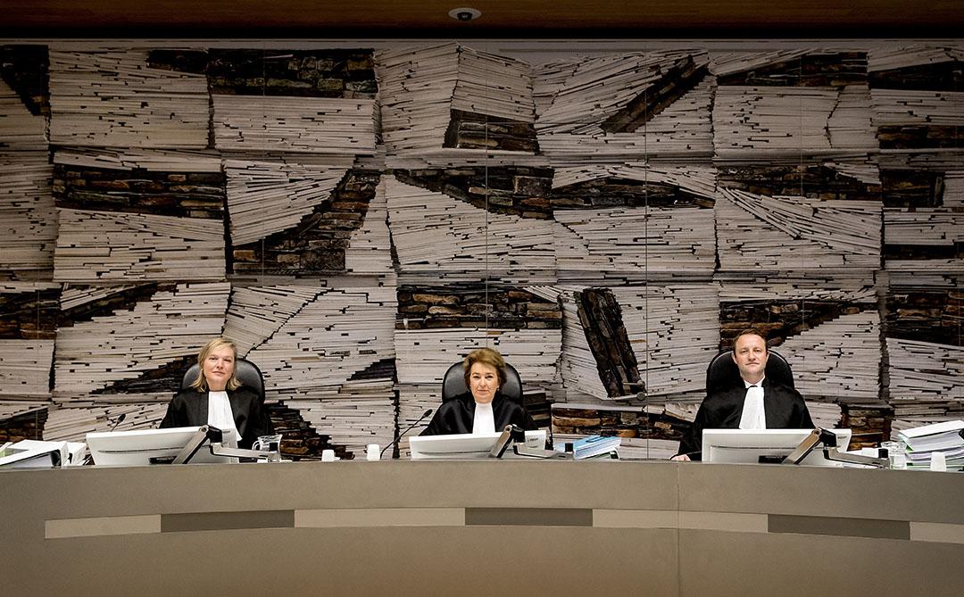 Rechters tijdens een rechtszaak tegen ABN AMRO over de rentederivaten in 2017. - Foto: ANP