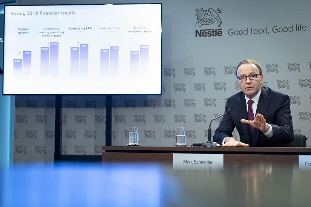 CEO Ulf Mark Schneider van Nestlé tijdens de toelichting op de jaarcijfers. - Foto: EPA