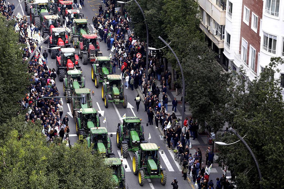 Boerenprotest 21 februari in Murcia, Spanje. Spaanse boeren zijn de lage prijzen voor hun producten zat. - Foto: EPA