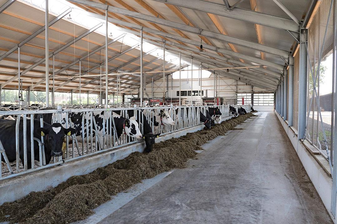 Een emissarme stal. De landbouw doet al veel aan stikstofreductie, maar dat is symptoombestrijding, stellen Willem Verbaan en Wim Veldman. - Foto: Galama Media