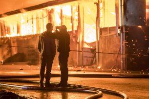 Een stalbrand in 2018 in Werkhoven. - Foto: ANP