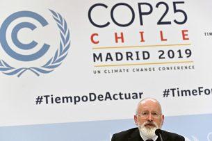 EU-Commissaris Frans Timmermans tijdens de klimaatttop in Madrid. - Foto: ANP