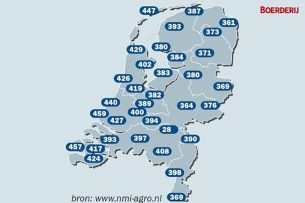 De temperatuursom in de verschillende gebieden in Nederland. - Afbeelding: Boerderij