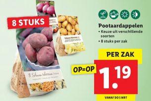Aanbieding van pootaardappelen bij ... supermarktketen Lidl. Een (tot nu toe toch) branchevreemde activiteit voor supermarkten. - Foto: Lidl