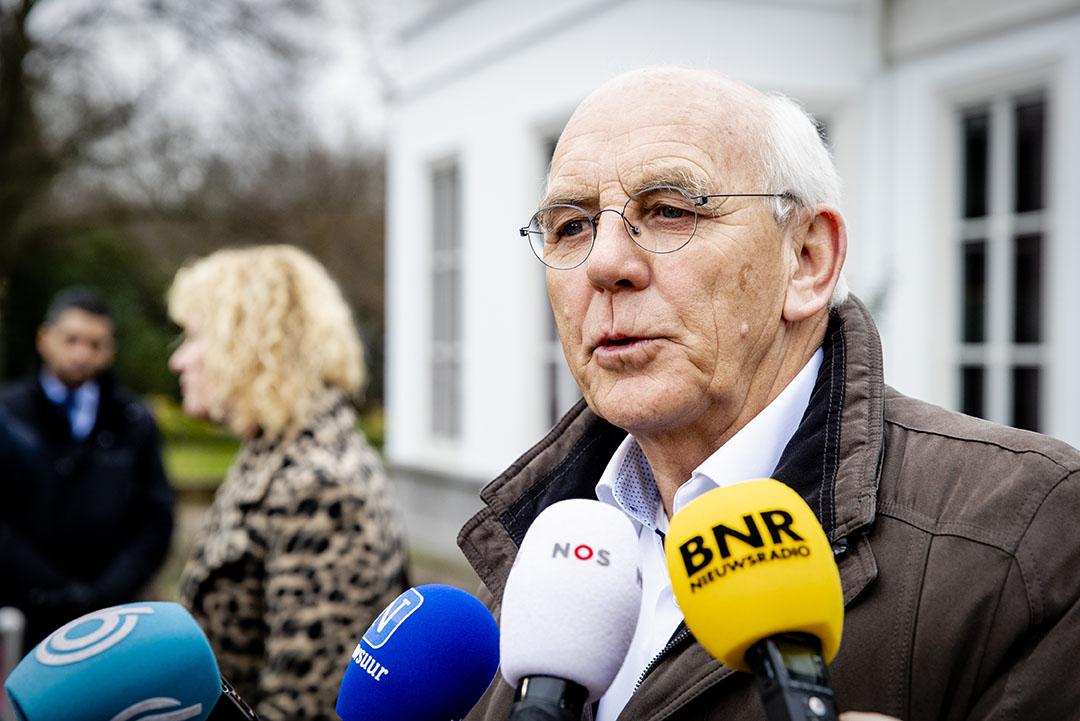 Aalt Dijkhuizen, voozitter van het Landbouw Collectief, staat de pers te woord na een overleg met premier Rutte en minister van landbouw Carola Schouten over het stikstofbeleid. - Foto: ANP