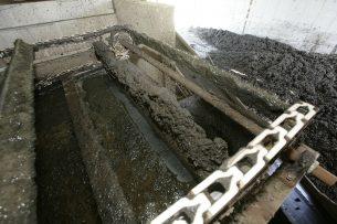 Het scheiden van dunne en dikke factie van varkensmest (archieffoto). In TCF wordt de dunne fractie verwerkt tot geurloos water. - Foto: ANP