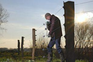 Het plaatsen van een omheining met stroom in Drenthe, om de wolf op afstand te houden.
