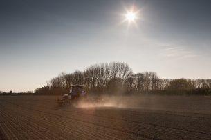 Droge omstandigheden tijdens het zaaien van uien in Zeeland. - Foto: Peter Roek
