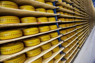 Kaas in de kaasfabriek van Bel Leerdammer in Schoonrewoerd. - Foto: ANP