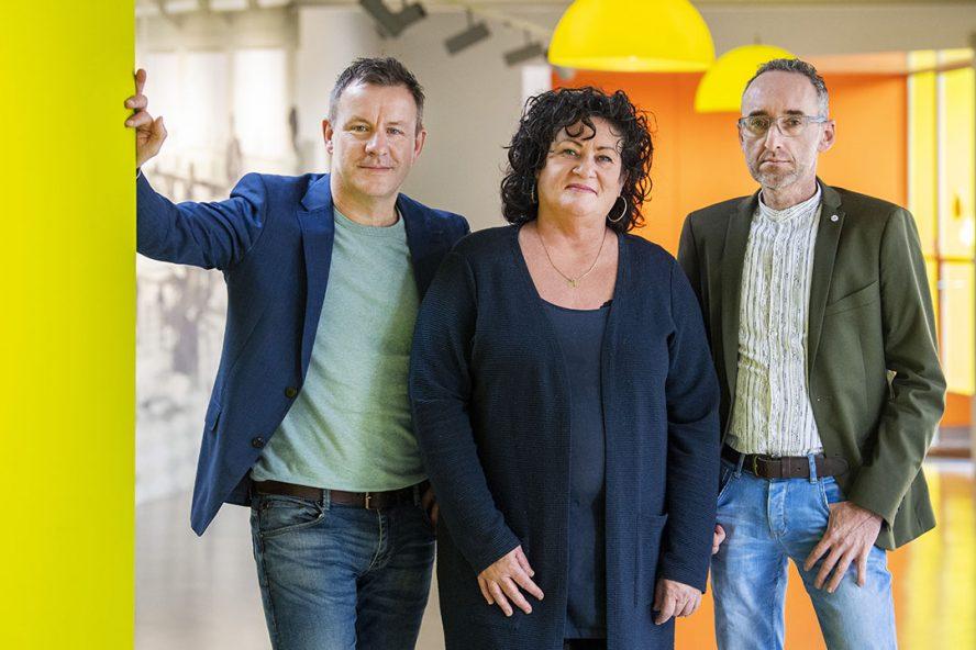 Wim Groot Koerkamp, Caroline van der Plas en Henk Vermeer van de BoerBurgerBeweging. - Foto: ANP