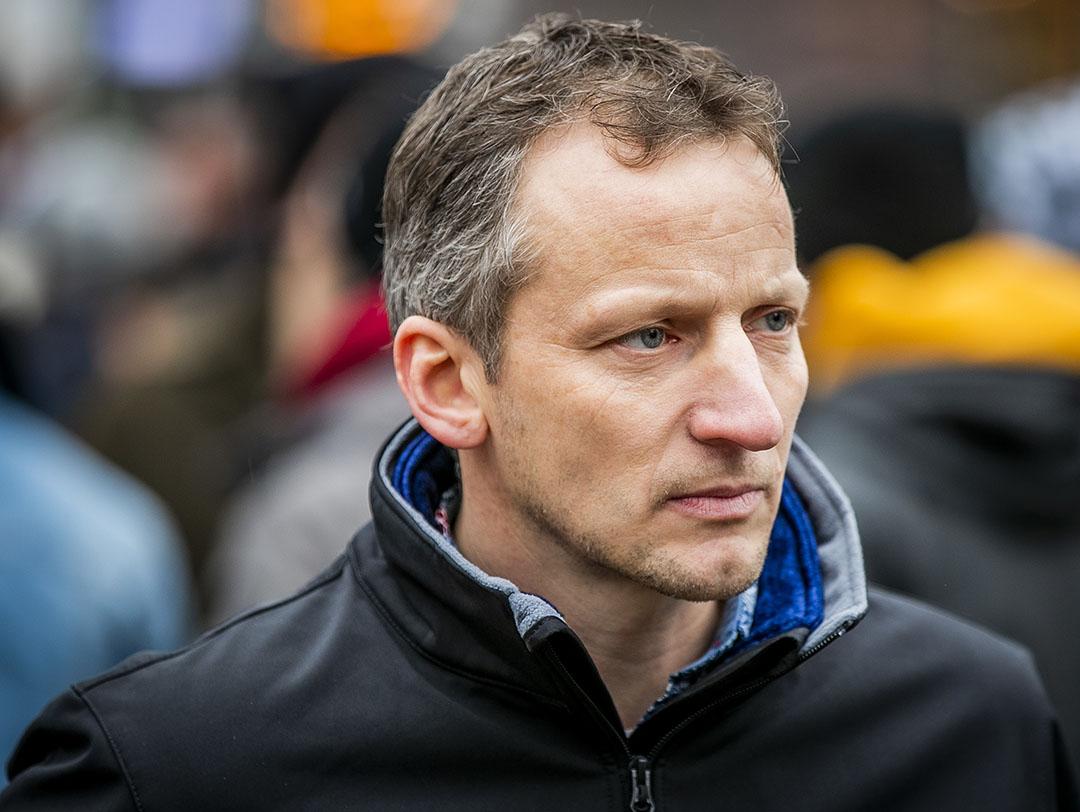 Bart Kemp van Agractie tijdens een manifestatie in Amsterdam vorig jaar december. - Foto: ANP