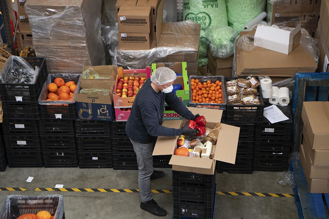 Inpakken van voedselpakketten. Met lokale initiatieven proberen producenten voedselverspilling en omzetdaling tegen te gaan nu horeca gesloten is vanwege het coronavirus. - Foto: ANP