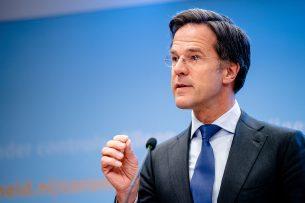 Premier Rutte tijdens de persconferentie op 6 mei. Foto: ANP