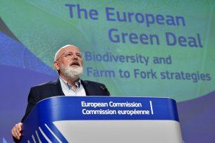 Vice-voorzitter van de Europese Commissie Frans Timmermans houdt een toespraak over de Europese Green Deal en de Farm-to-Forkstrategie (Boer tot Bord) op 20 mei 2020 op het EU-hoofdkantoor in Brussel.- Foto: ANP