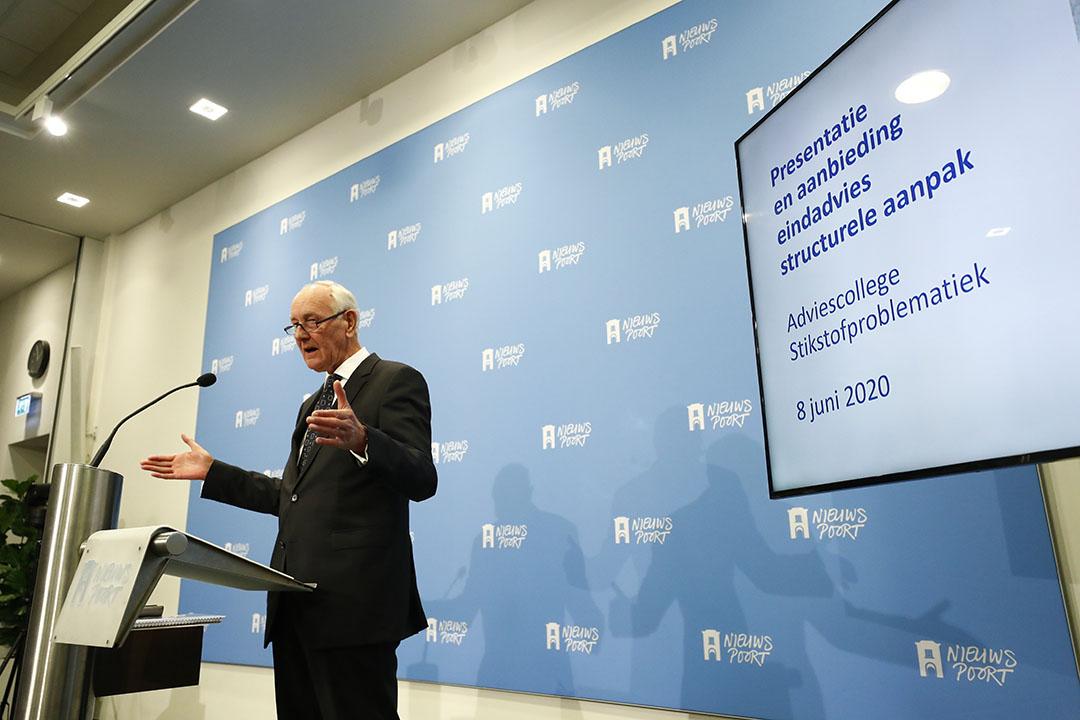 Johan Remkes tijdens de presentatie van het eindrapport van het Adviescollege Stikstofproblematiek. Foto: ANP