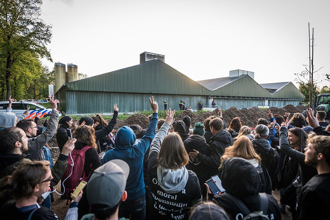 Dierenactivisten van actiegroep Meat the Victims bij de stalbezetting in Boxtel vorig jaar mei. Foto: Bert Jansen