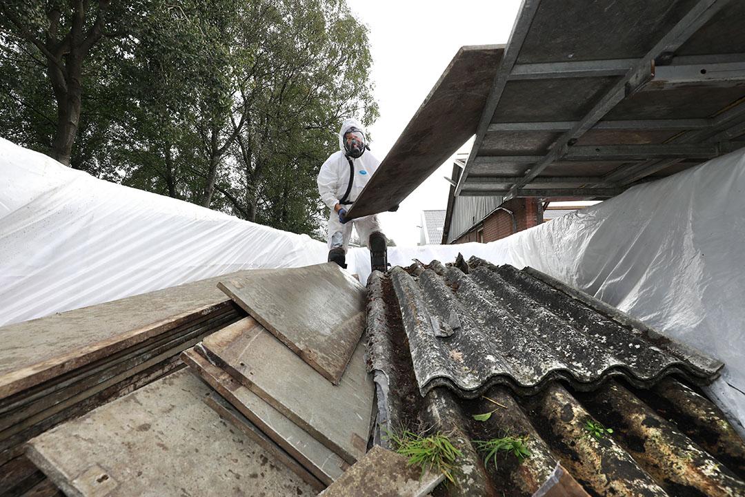 Het verwijderen van asbestplaten van een varkensstal. - Foto: Ruud Ploeg