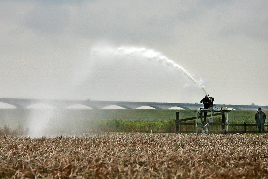 Vorig jaar moest in Zeeland met zout water worden beregend om aardappelen te kunnen rooien. - Foto: Peter Roek