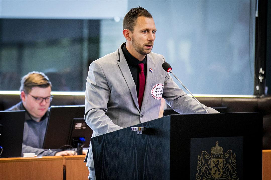 Maikel Boon (PVV) tijdens een statendebat over de landbouw. Foto: ANP