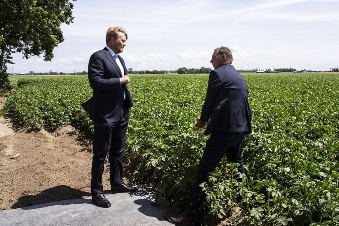 Koning Willem-Alexander tijdens zijn werkbezoek aan Van der Poel Akkerbouw en Loonbedrijf. - Foto: ANP