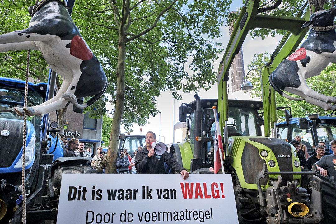 Boerenprotest in juli tegen de voermaatregel. - Foto: Roel Dijkstra