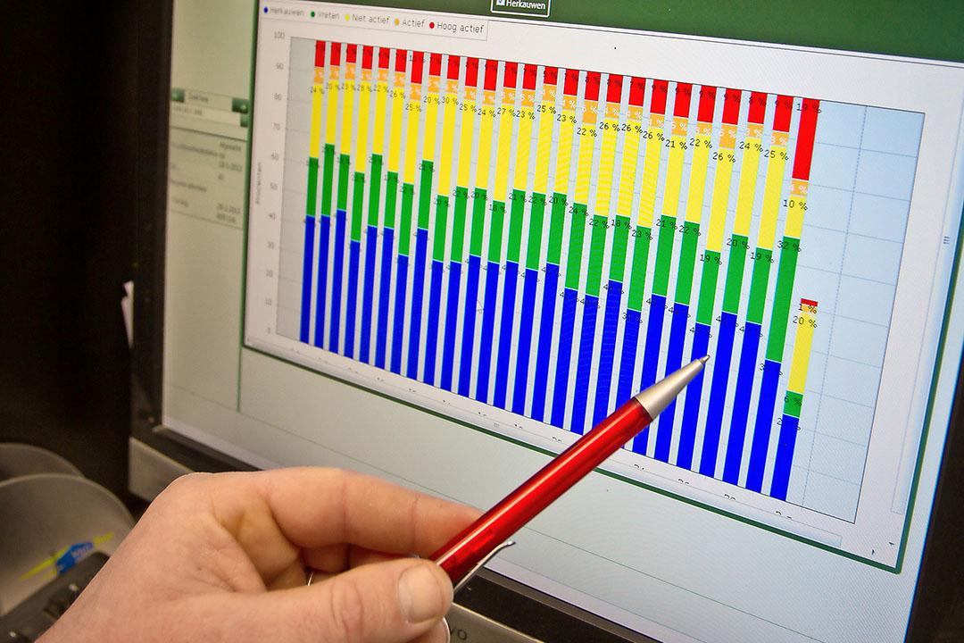 Koe-data uitlezen op de computer. - Foto: Peter Roek