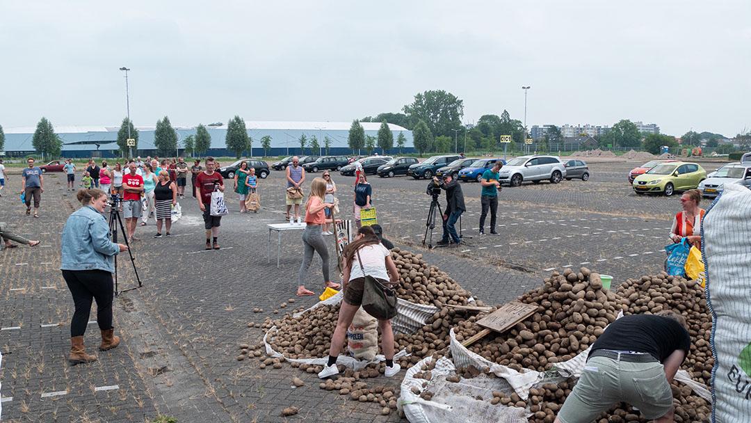 In Leeuwarden is een berg aardappelen gestort die niet kunnen worden afgezet vanwege de coronacrisis. Consumenten kunnen een paar kilo kopen. - Foto: Galama Media