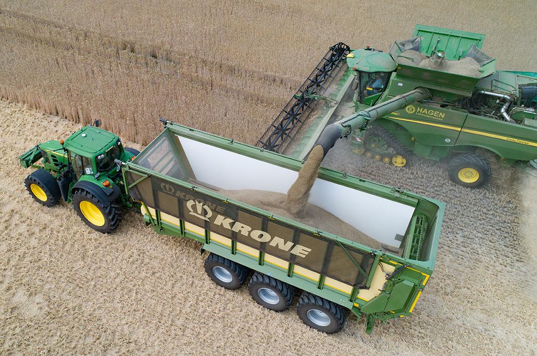 Oogsten van graan. De Europese Commissie verwacht dat er dit jaar minder gerst en tarwe van de akkers komt. - Foto: Michel Velderman