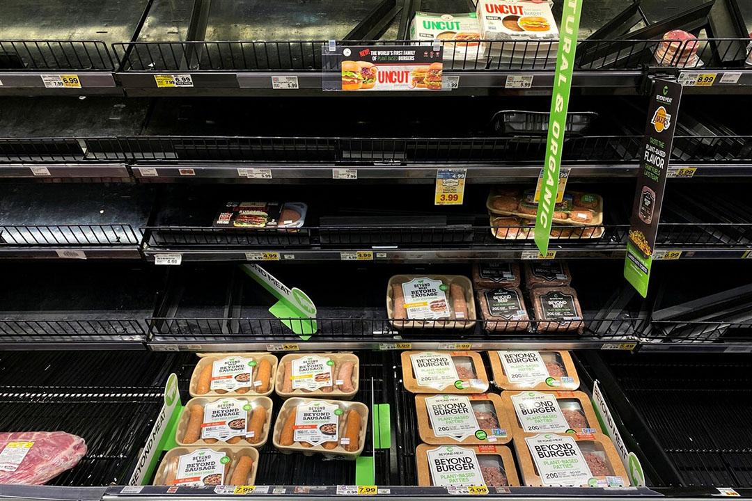 Producten van Beyond Meat in de schappen van een supermarkt in Los Angeles. Foto: ANP
