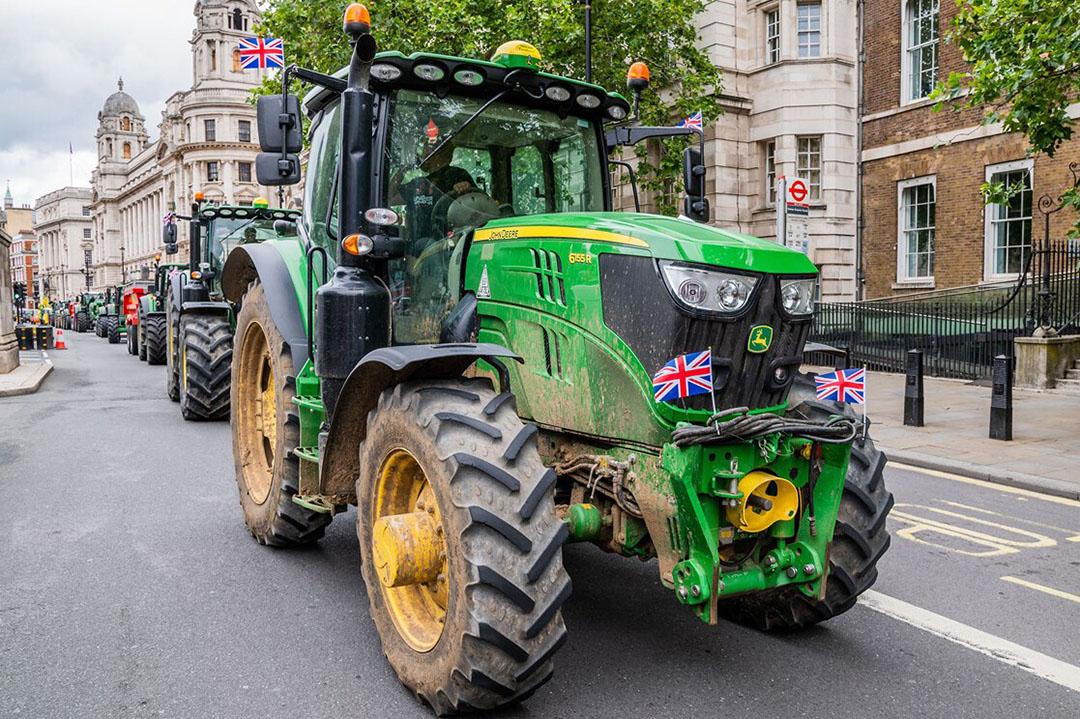 Een eerder protest dit jaar van Britse boeren in Londen tegen een handelsovereenkomst met de VS. - Foto: ANP
