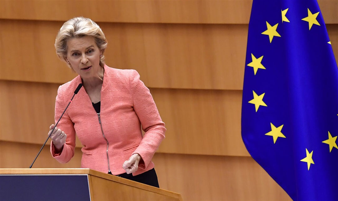 Ursula von der Leyen in haar eerste grote beleidstoespraak, de Staat van de Unie. Foto: ANP