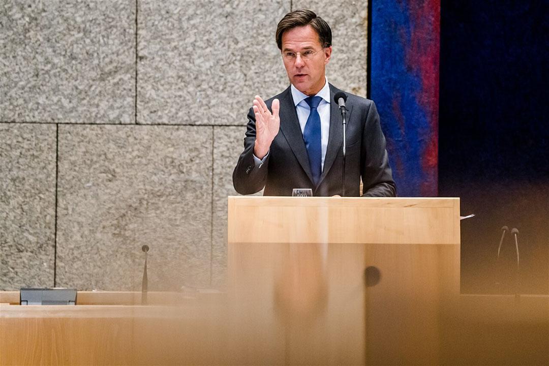 Premier Mark Rutte tijdens de tweede dag van de Algemene Politieke Beschouwingen, het debat na de troonrede op Prinsjesdag. Foto: ANP