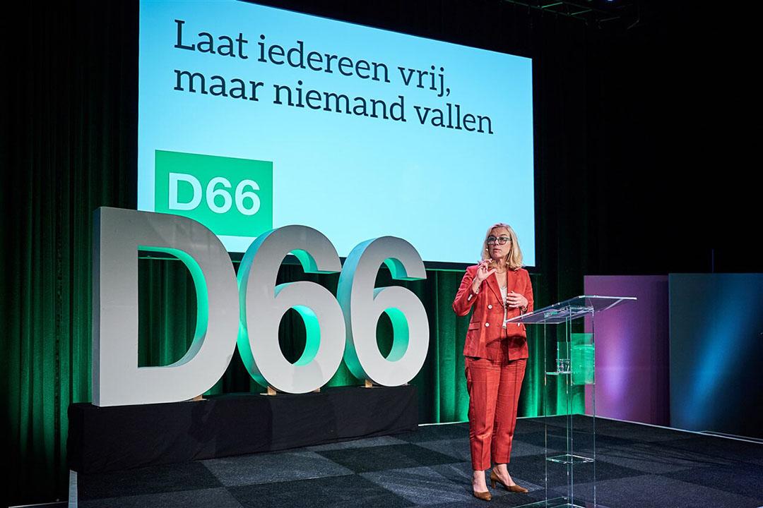 Lijstrekker Sigrid Kaag tijdens de presentatie van het concept-verkiezingsprogramma van D66. - Foto: ANP