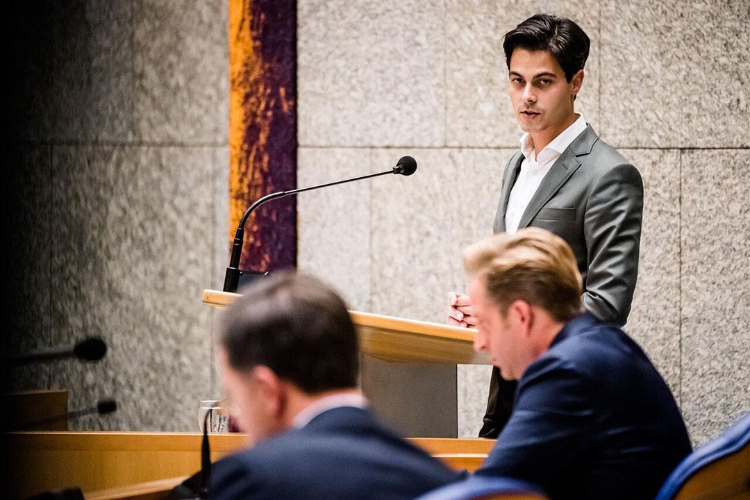 D66-fractievoorzitter Rob Jetten tijdens het coronadebat in de Tweede Kamer deze week. - Foto: ANP