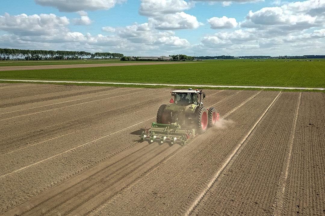Aardappelruggen trekken op stroken. - Foto: Peter Roek