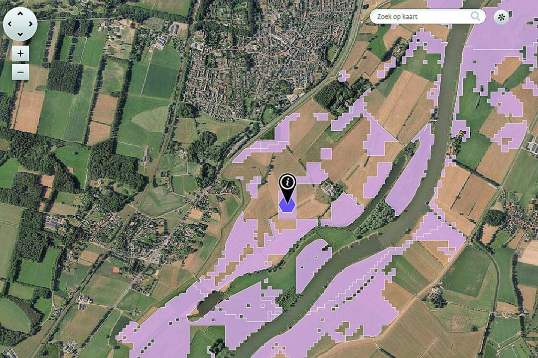 Screenshot van een stukje IJsselvallei in Aerius. De paars gekleurde grond is stikstofgevoelig. De donkerpaarse zeshoek is een zogeheten hexagoon, waarvoor Aerius de deposities berekent. De lichtpaarse kleur geldt tot verbazing van boeren vaak voor landbouwgrond in de beschermde uiterwaarden. - Foto: screenshot Aerius