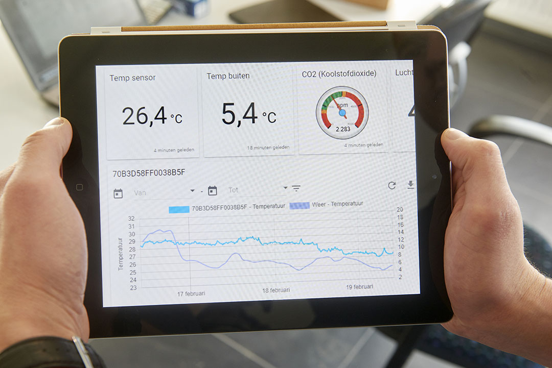 Het elektronisch monitoren van het stalklimaat gebeurt twee keer per jaar. - Foto: Van Assendelft Fotografie