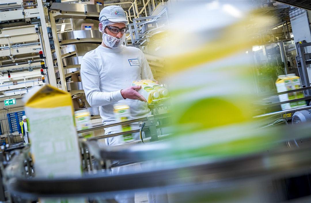 Productielijn in een vestiging van zuivelconcern FrieslandCampina. - Foto: ANP