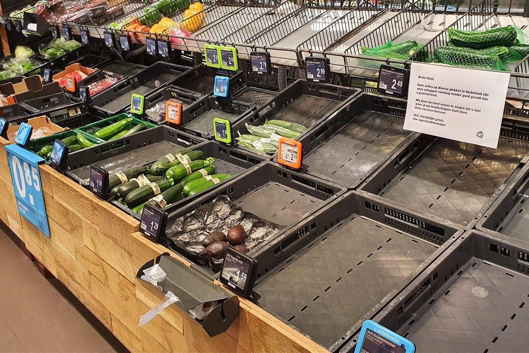 Lege schappen in een supermarkt in Groningen vanwege de boerenprotesten die vrijdag en zaterdag werden gehouden bij verschillende distributiecentra. Foto: Novum RegioFoto via ANP