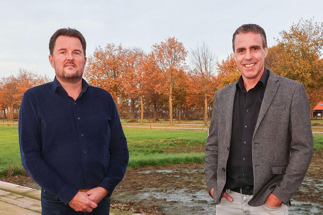 Eric van den Hengel (49. links) is voorzitter van het Innovatieplatform Duurzame Veehouderij. Mark Thomassen (45, rechts) is commercieel directeur van Proflex.