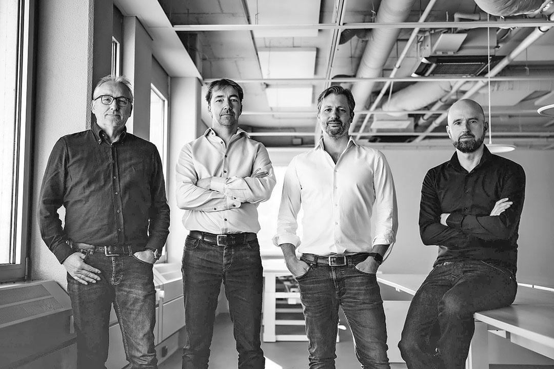 De vier oprichters van innovatieplatform Brave New Food (vlnr): Vincent van Gorkom, Jesse 't Lam, Joost Dekkers en Bas Allart. - Foto: Brave New Food