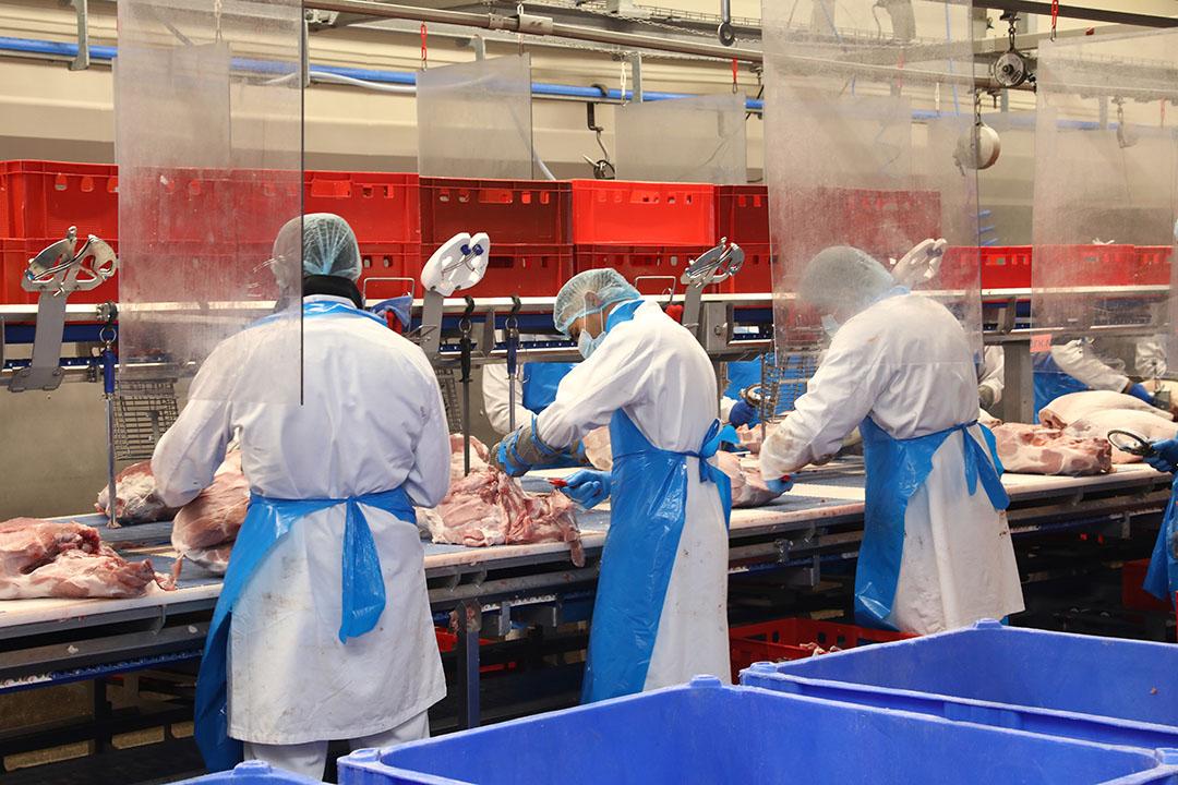 Slachterijen kregen door het coronavirus te maken met het wegvallen van grote groepen werknemers. - Foto: Henk Riswick