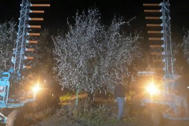 Kunstmatige bestuiving van amandelen in Israël. Onbemande machines kunnen dag en nacht doorwerken. - Foto: Edete Precision Technologies for Agriculture