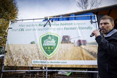 Farmers Defence Force-voorman Mark van den Oever tijdens de presentatie van keurmerk Farmer Friendly in november 2020. - Foto: ANP/Robin van Lonkhuijsen