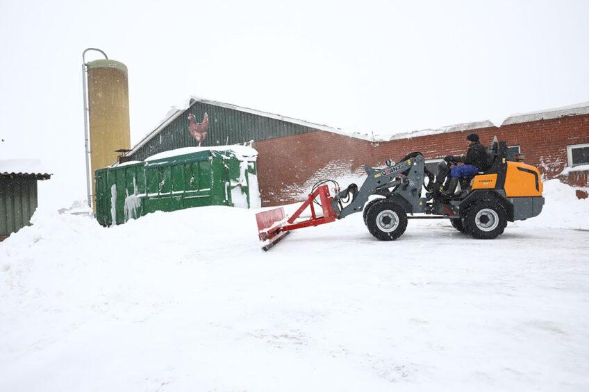 Een dik pak sneeuw op het erf van een pluimveebedrijf in het Gelderse Wehl afgelopen weekend. Foto: Henk Riswick