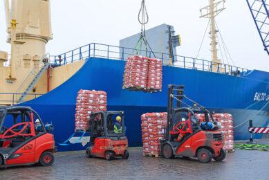 Uien worden in een schip richting Senegal geladen. Afrika neemt steeds meer Nederlandse uien af. - Foto: Peter Roek