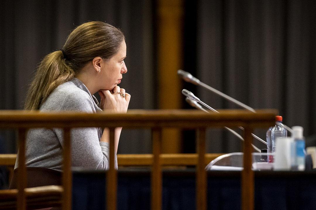Carola Schouten, demissionair minister van Landbouw, Natuur en Voedselkwaliteit, tijdens een plenaire zitting. De Eerste Kamer behandelt haar stikstofwet. - Foto: ANP