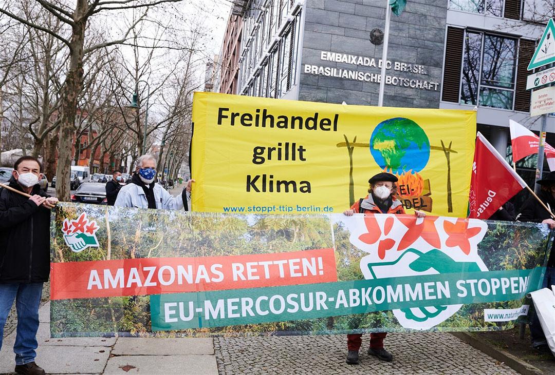 Regelmatig wordt geprotesteerd tegen de Mercosur-deal. Deze demonstratie was 15 maart in Berlijn. -  Foto: ANP
